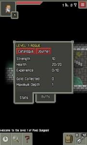 Pixel Dungeon Fiche Personnage