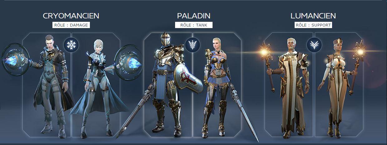 Classes de SkyForge Cryomancien / Paladin / Lumancien