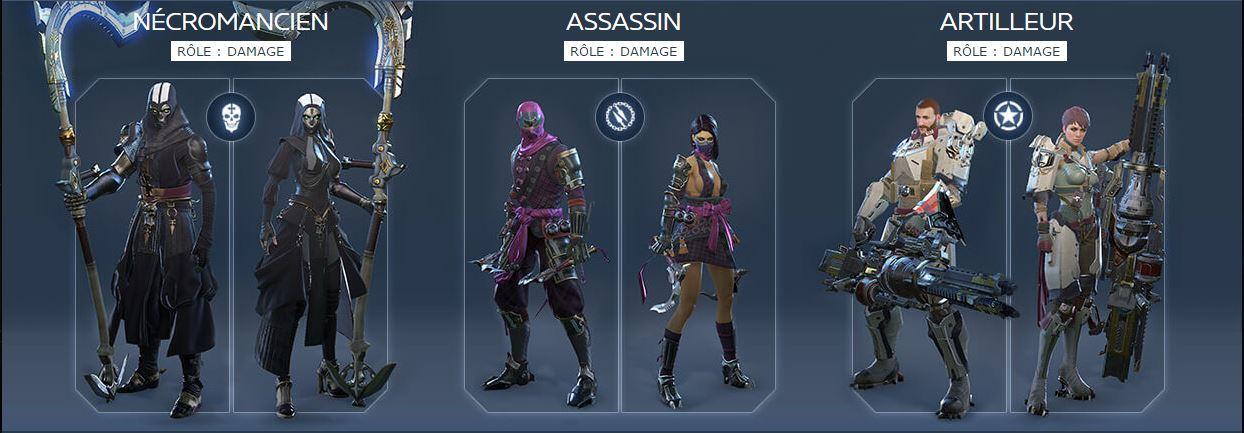 Classes de SkyForge Nécromancien / Assassin / Artilleur