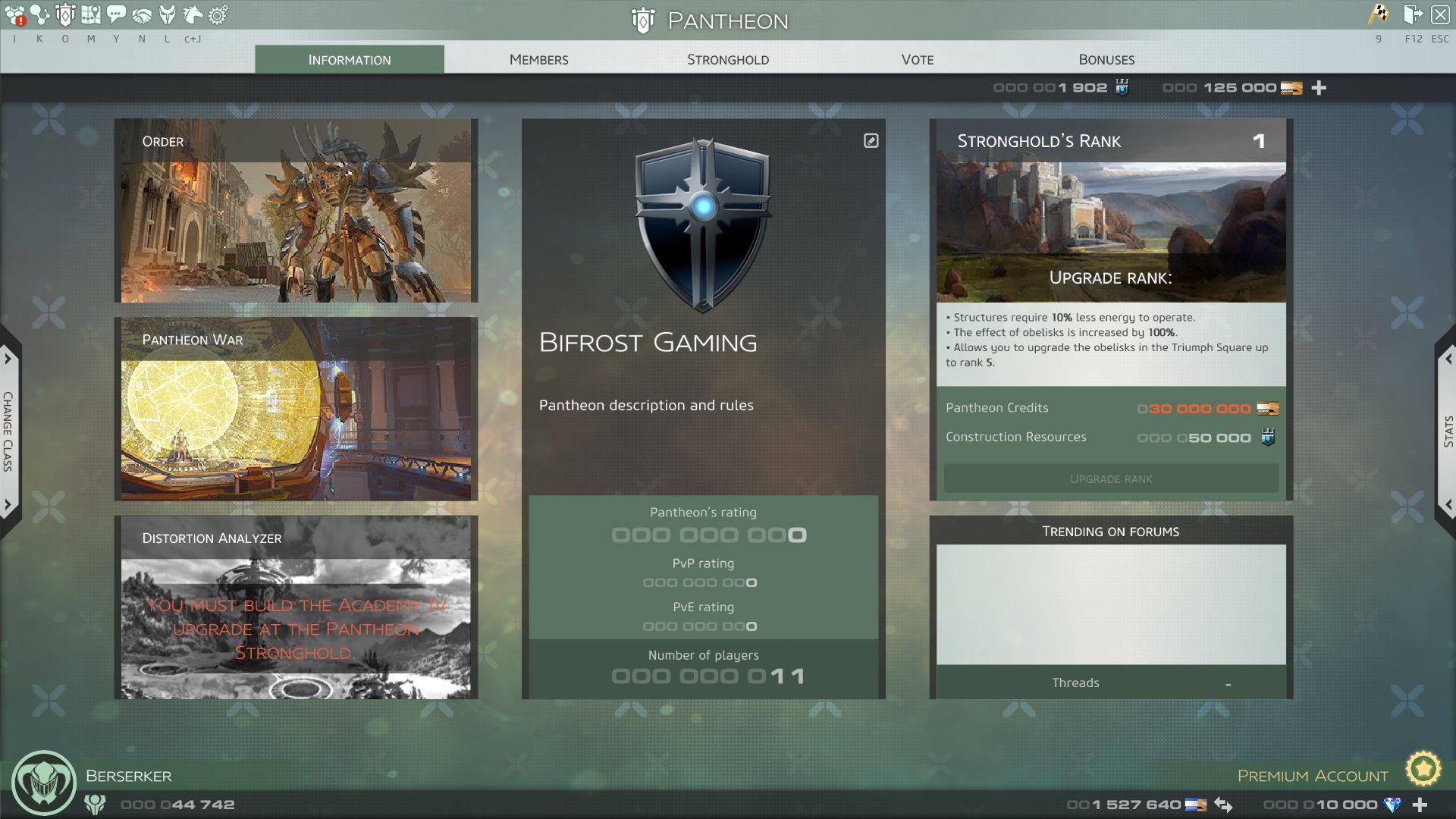 Informations Skyforge -  Pantheon