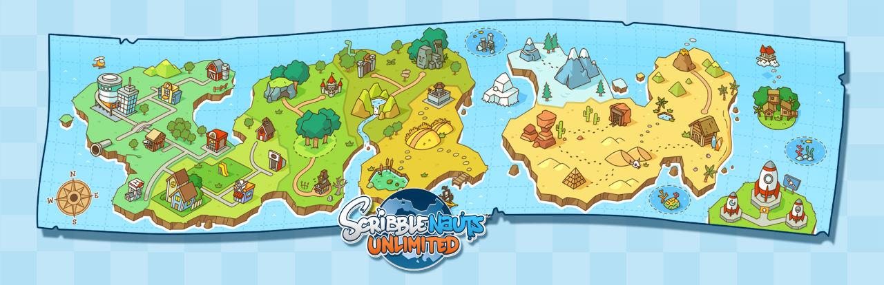 La carte des niveaux de Scribblenauts Unlimited.