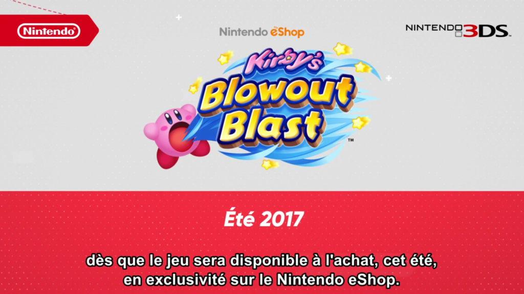 Nintendo Direct Kirby's Blowout Blast Date de Sortie