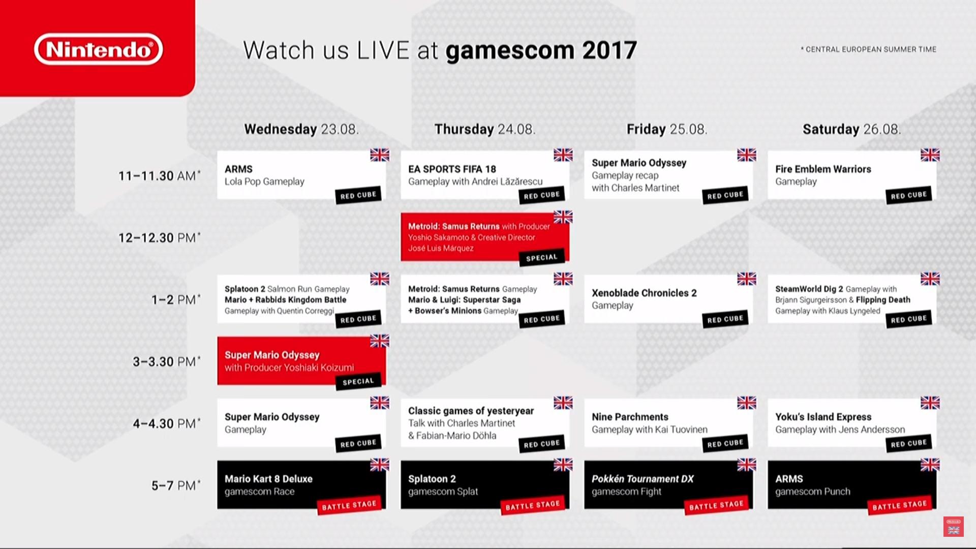 Nintendo Gamescom 2017 - Programme