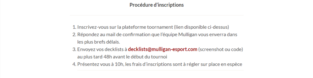 Procédures d'inscription Mulligan Hearthstone Series