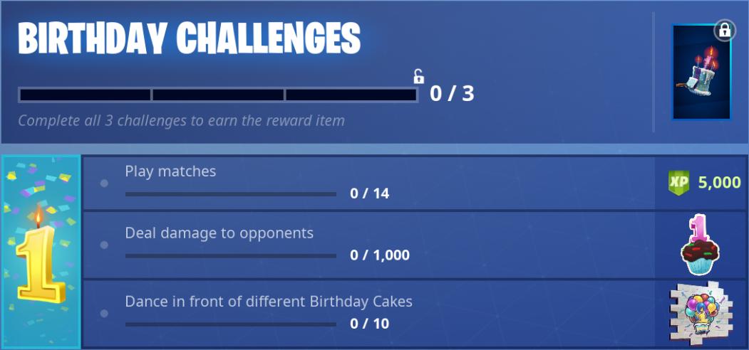 anniversaire Fortnite challenges