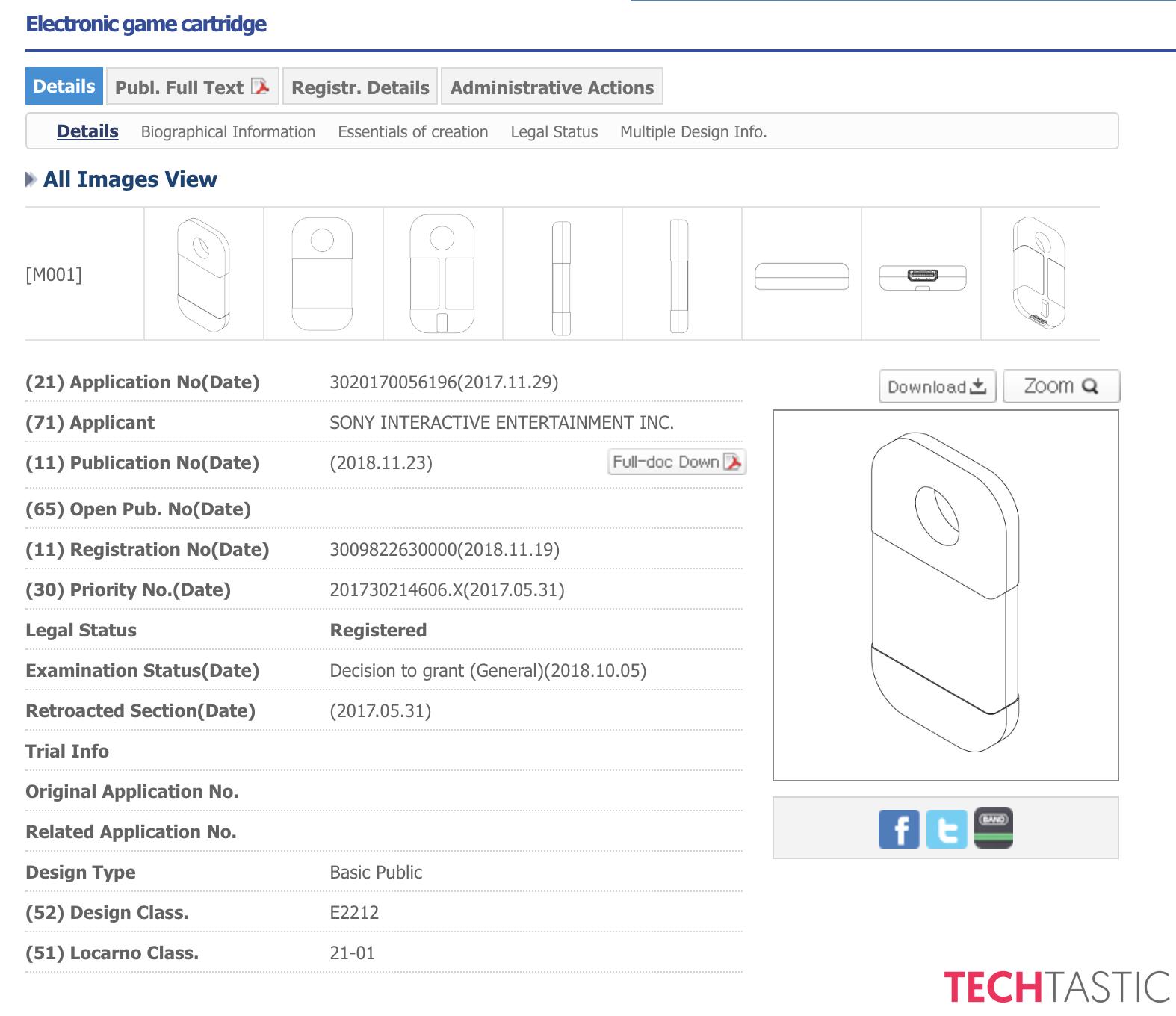 brevet Sony cartouche