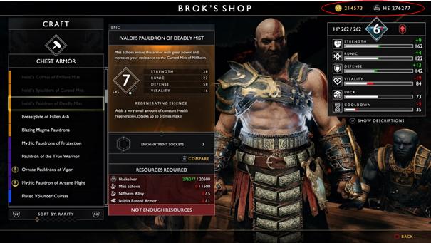 God of War Equipements jeu vidéo