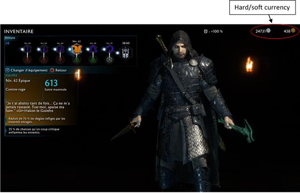 Ombre de la guerre Equipements jeu vidéo